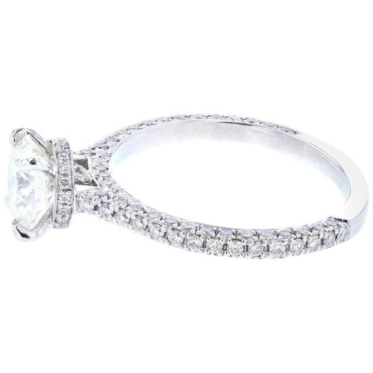 Hidden Halo Round Diamond Engagement Ring 'Certified' Platinum Diamond Setting For Sale