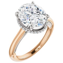 Hidden Halo Oval Forever One Moissanite Diamond Engagement Ring 2.51 Carats