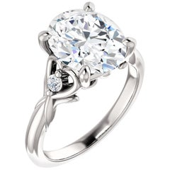 Hidden Heart Cathedral Style Diamond Accented Oval GIA Certified Engagement Ring