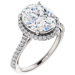 Hidden Heart Halo Style Diamond Accented GIA Certified Oval Cut Engagement Ring