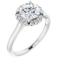Hidden Infinity Halo GIA Round Brilliant White Diamond Engagement Wedding Ring