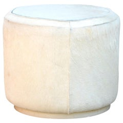 Hide Covered Cylinder Ottoman Stool