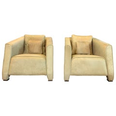 Promemoria Hide-On Leather Martini Lounge Chairs, a Pair
