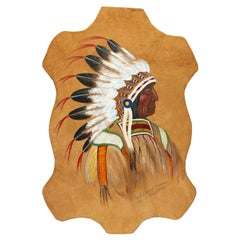 Hide Painting of Chief Red Cloud by Louis Shipshee