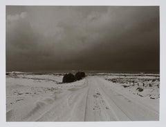 "Hideoki, Black & White, The Snowy Road, Japan, 1978, Photography, 16"" x 20"""