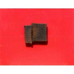 "Hidetaka Ohno ""Red No.2-15"", 1964 Oil and Burlap Collage"