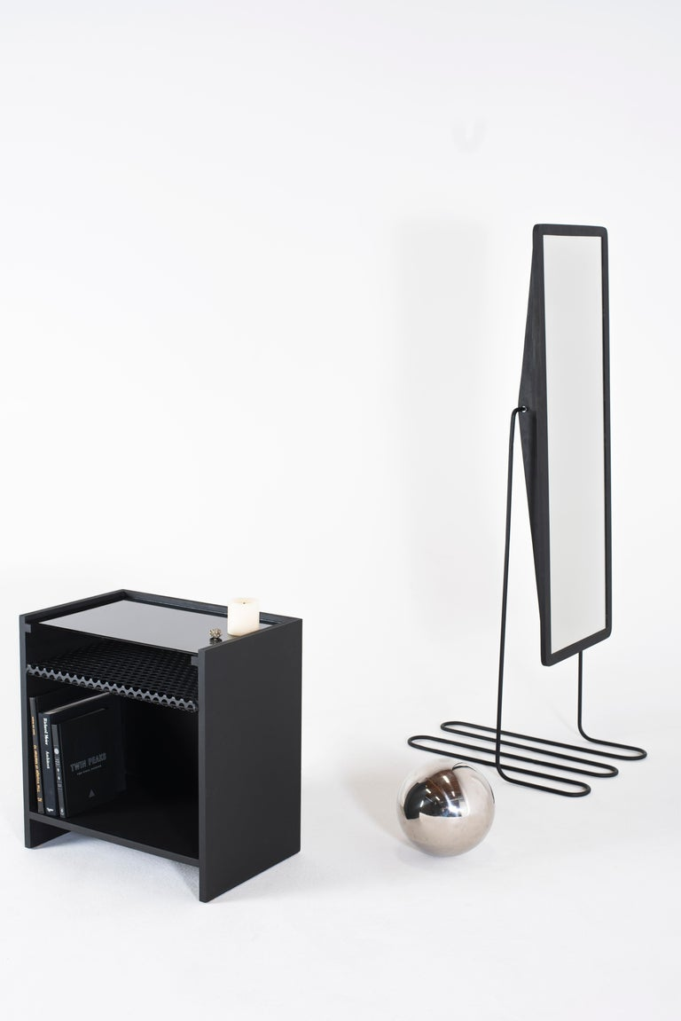 Modern Hierarchy Nightstand or Side Table Tinted Glass, Perforated Steel, Painted MDF For Sale