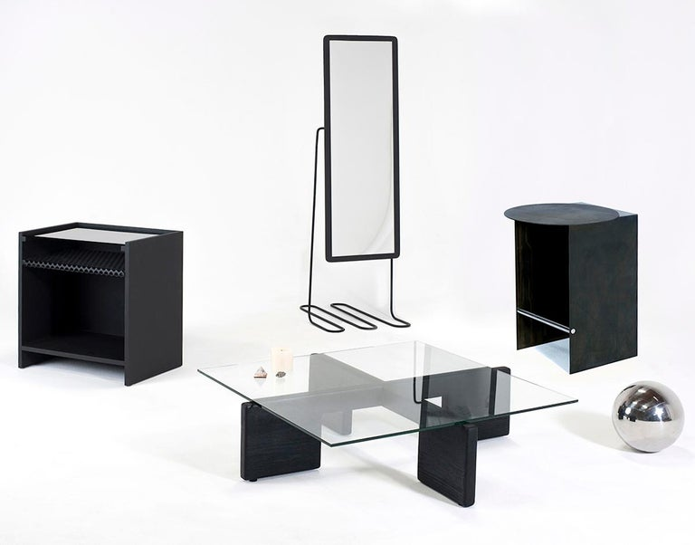 American Hierarchy Nightstand or Side Table Tinted Glass, Perforated Steel, Painted MDF For Sale