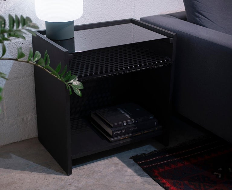 Hierarchy Nightstand or Side Table Tinted Glass, Perforated Steel, Painted MDF In New Condition For Sale In Brooklyn, NY