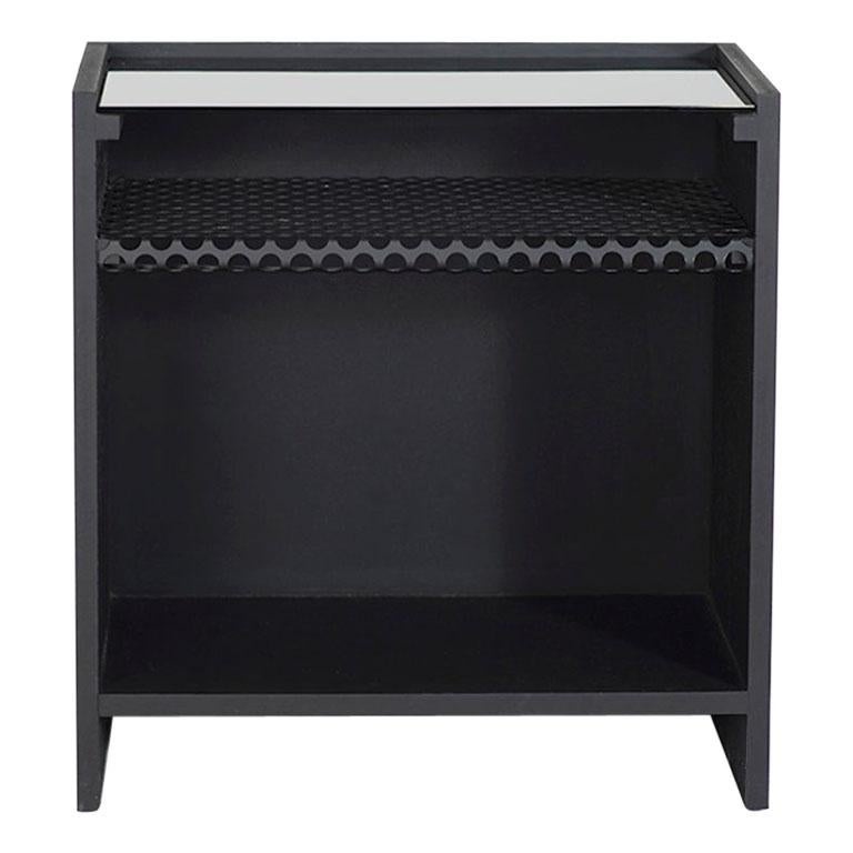 Hierarchy Nightstand or Side Table Tinted Glass, Perforated Steel, Painted MDF For Sale