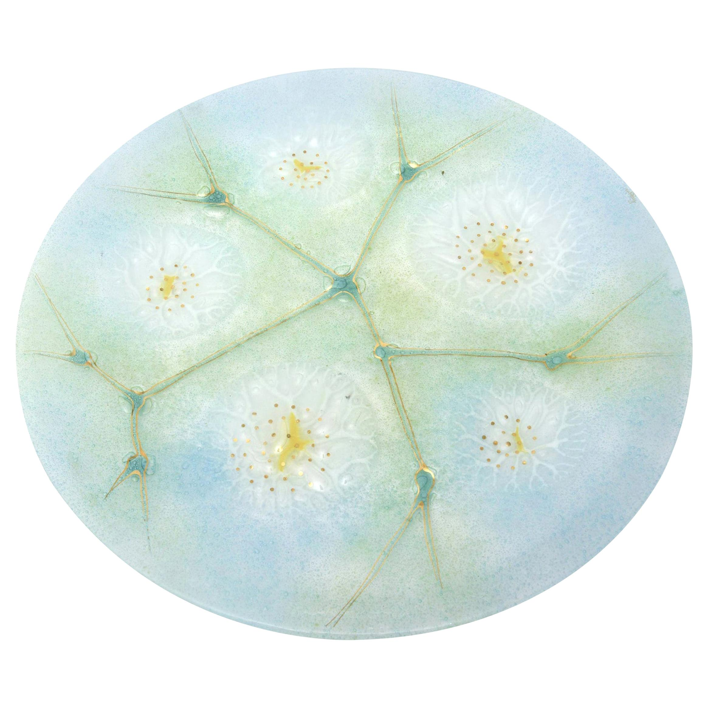 Higgins Fused Turquoise Gold, White, Green Glass Platter or Charger Vintage