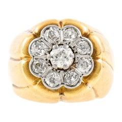 High 18 Karat Flower Setting with Diamonds Ring