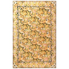 High and Low Bessarabian Black, Brown, Gold, Pink and White Handmade Wool Rug