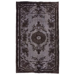 High and Low Pile Vintage Rug Overdyed in Black Color