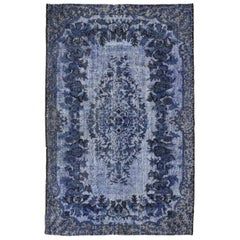 5.6x9.4 Ft High and Low Pile Vintage Rug Re-Dyed in Blue Color, Handmade Carpet