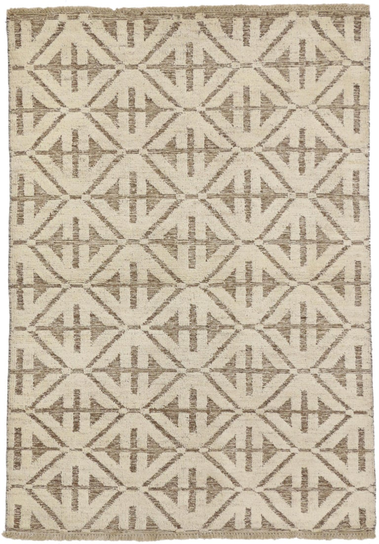 80355 New Contemporary High and Low Texture Area Rug with Mid-Century Modern Style. Spike the energy in your space with graphic geometric shapes found in this contemporary Modern style rug. It is a two layer rug featuring a high and low pile with