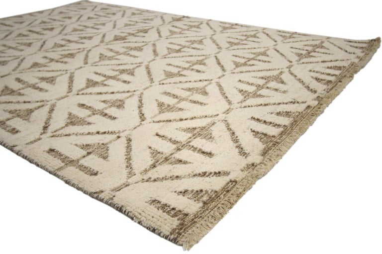 Pakistani Contemporary High and Low Texture Area Rug with Mid-Century Modern Style For Sale