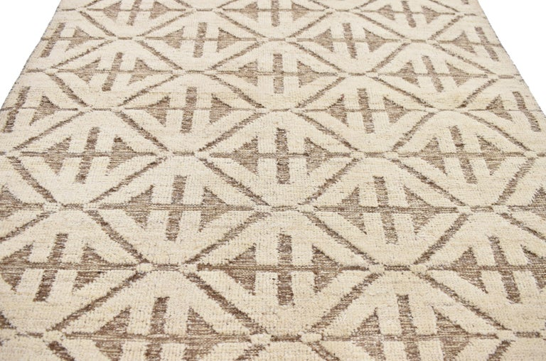 Hand-Woven Contemporary High and Low Texture Area Rug with Mid-Century Modern Style For Sale