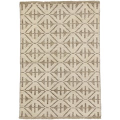 Contemporary High and Low Texture Area Rug with Mid-Century Modern Style