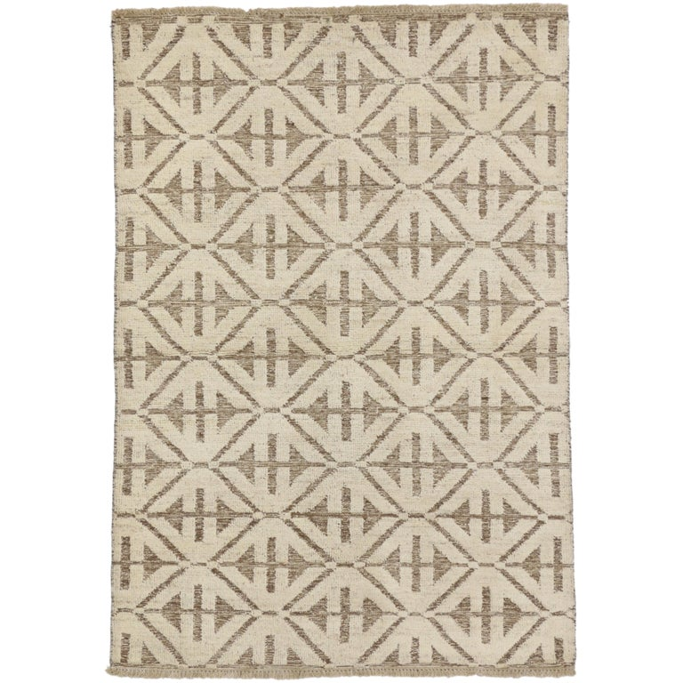 Contemporary High and Low Texture Area Rug with Mid-Century Modern Style For Sale