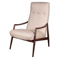 High-Back 1950s Teak Armchair by Lohmeyer upholstered à la Coco Chanel