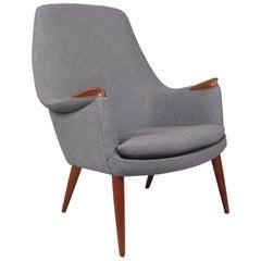 High Back 1950s Teak Lounge Chair by Gerhard Berg