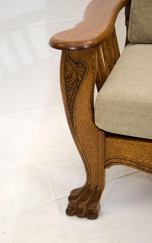 Sensational High Back Antique Oak Morris Reclining Chair Claw Feet At Gamerscity Chair Design For Home Gamerscityorg