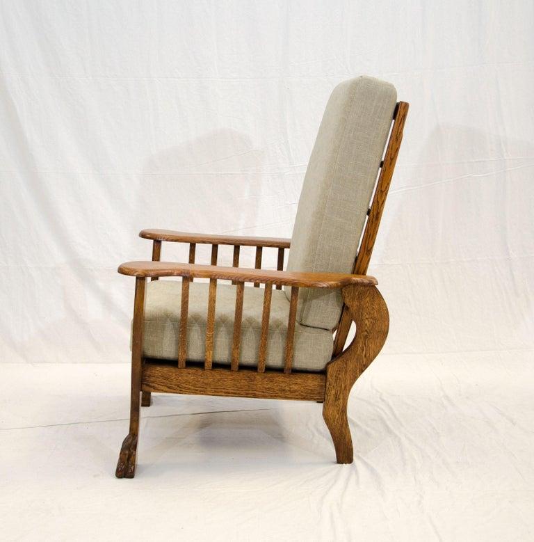 Fabulous High Back Antique Oak Morris Reclining Chair Claw Feet At Gamerscity Chair Design For Home Gamerscityorg