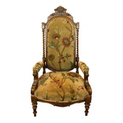 High Back Antique Wooden Carved Upholstered Arm Chair
