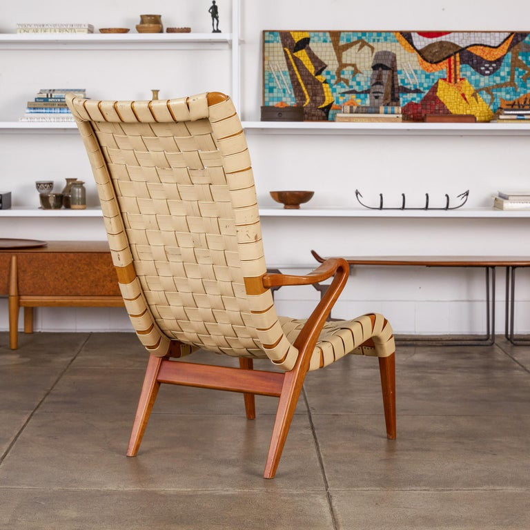 Stained High Back Armchair by Axel Larsson for Bodafors/Svenska Möbelfabrikerna For Sale