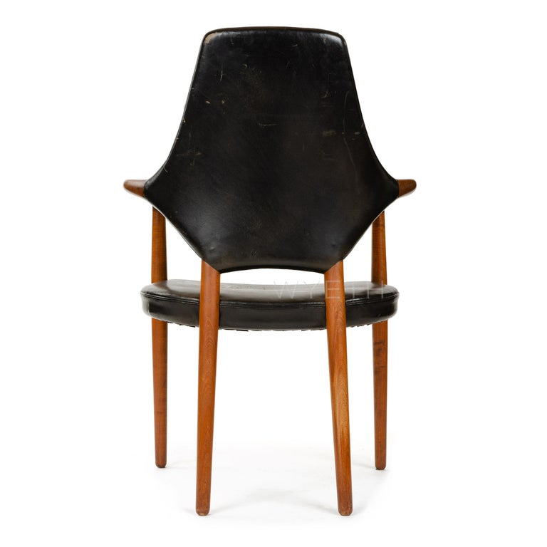 1950s Danish High Back Armchair / Dining Chair by Vestergaard Jensen In Good Condition For Sale In Sagaponack, NY