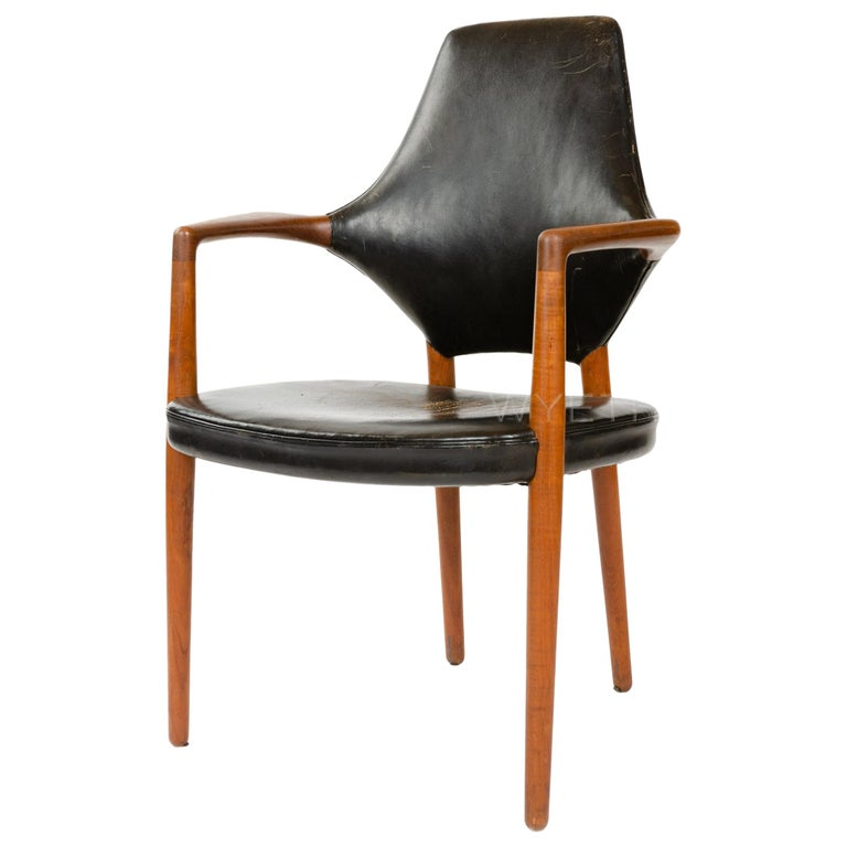 1950s Danish High Back Armchair / Dining Chair by Vestergaard Jensen For Sale