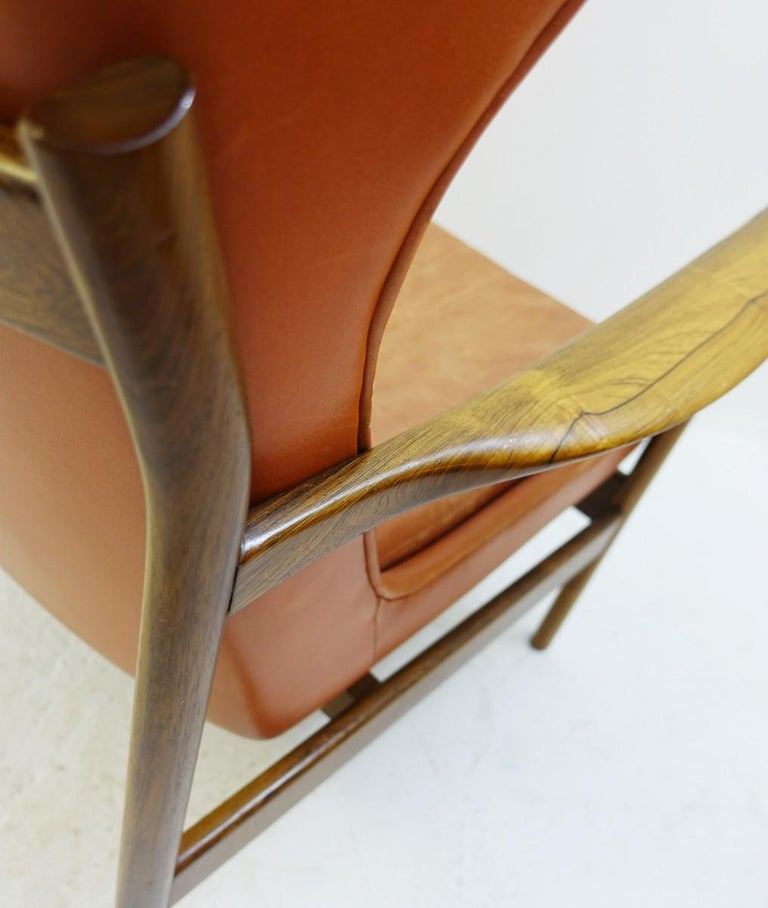 Mid-20th Century High Back Armchair in Wood and Leather, Padding to Replace For Sale