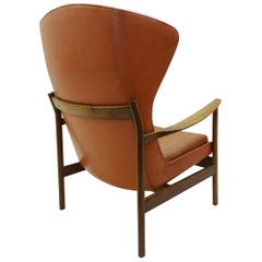 High Back Armchair in Wood and Leather, Padding to Replace