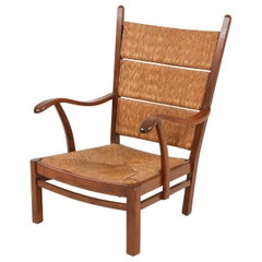 Bas Van Pelt attributed High Back Armchairs in Oak and Straw