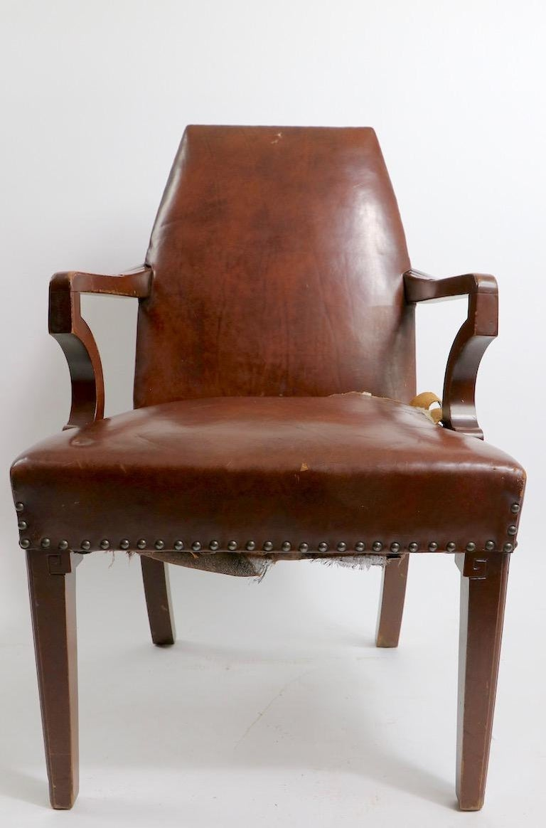 Upholstery High Back Art Deco Chair For Sale