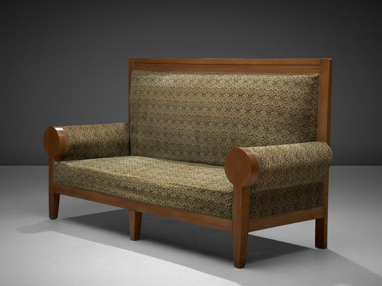 Italian High Back Art Deco Sofa in Green Fabric Upholstery For Sale