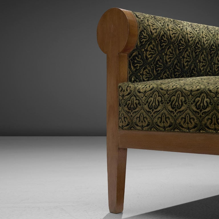 High Back Art Deco Sofa in Green Fabric Upholstery In Good Condition For Sale In Waalwijk, NL