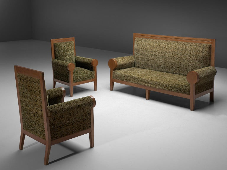 High Back Art Deco Sofa in Green Fabric Upholstery For Sale 1