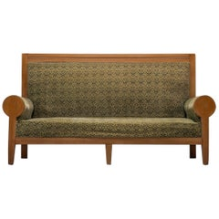 High Back Art Deco Sofa in Green Fabric Upholstery