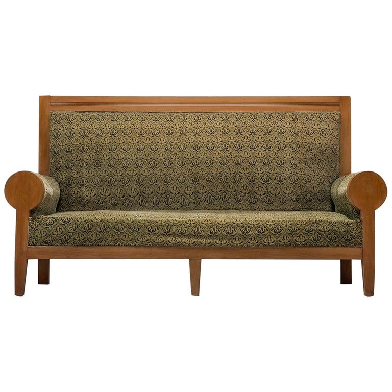 High Back Art Deco Sofa in Green Fabric Upholstery For Sale