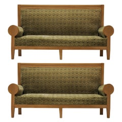 High Back Art Deco Sofas in Green Fabric Upholstery