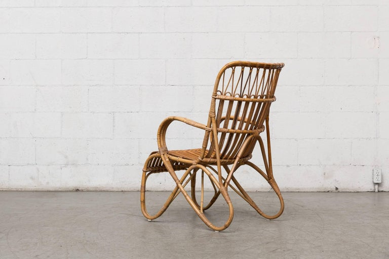 Mid-Century Modern High Back Bamboo Armchair For Sale