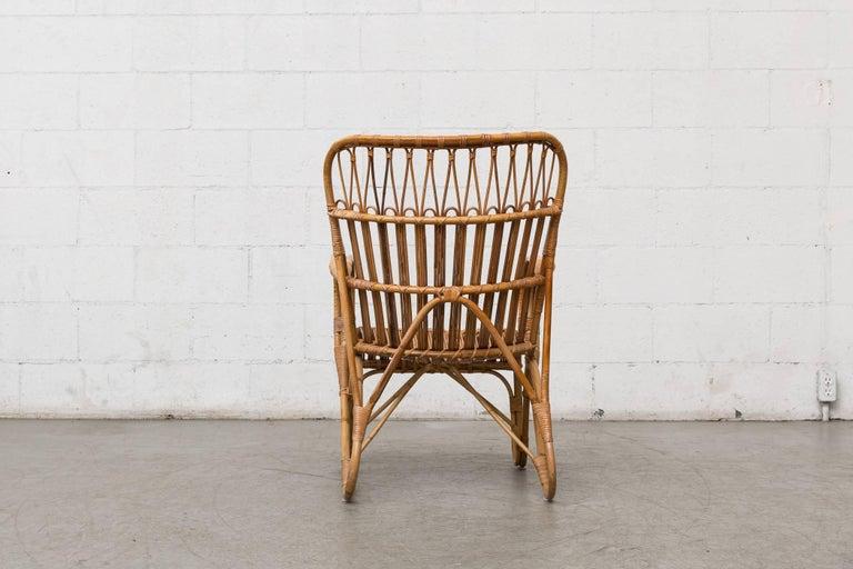 Dutch High Back Bamboo Armchair For Sale