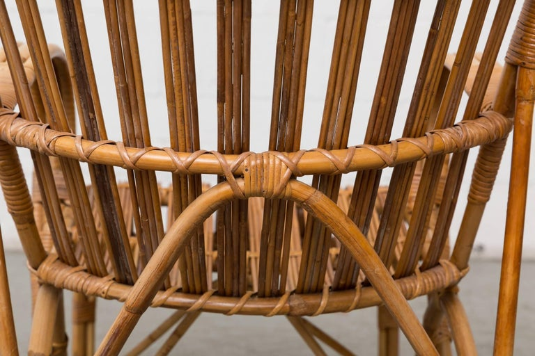 High Back Bamboo Armchair In Good Condition For Sale In Los Angeles, CA