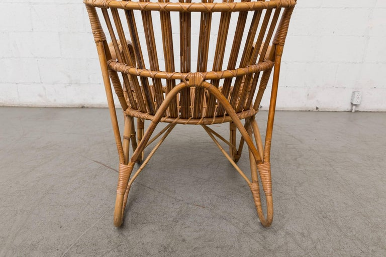 Mid-20th Century High Back Bamboo Armchair For Sale