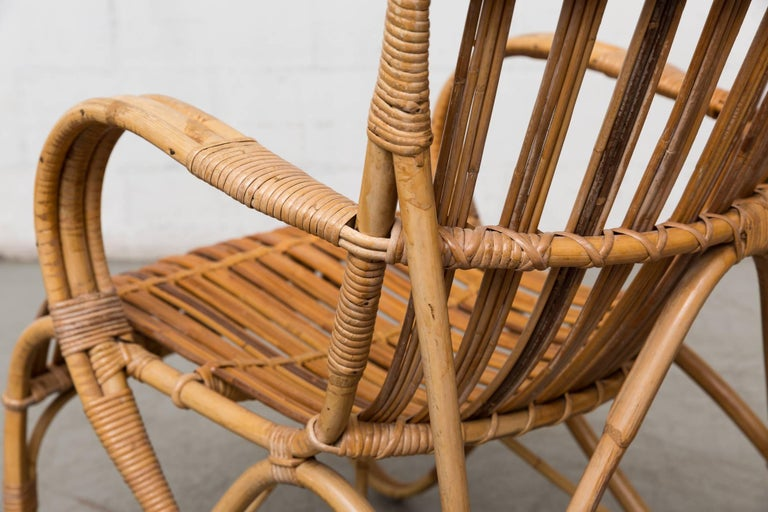 High Back Bamboo Armchair For Sale 1