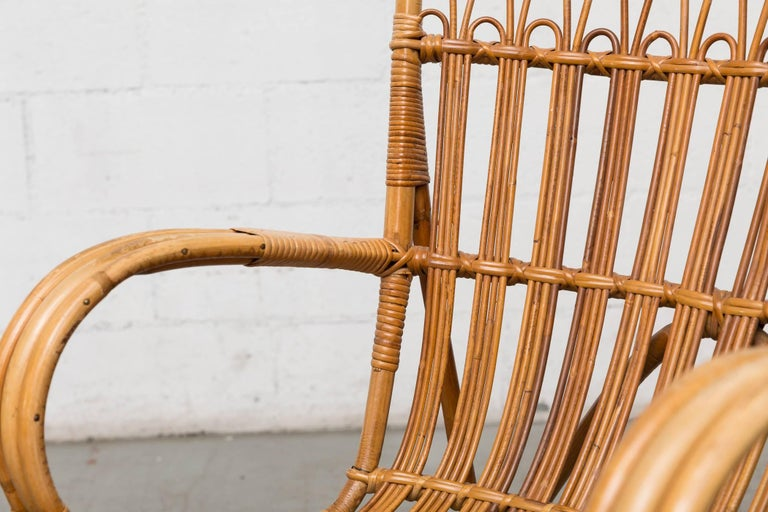 High Back Bamboo Armchair For Sale 3