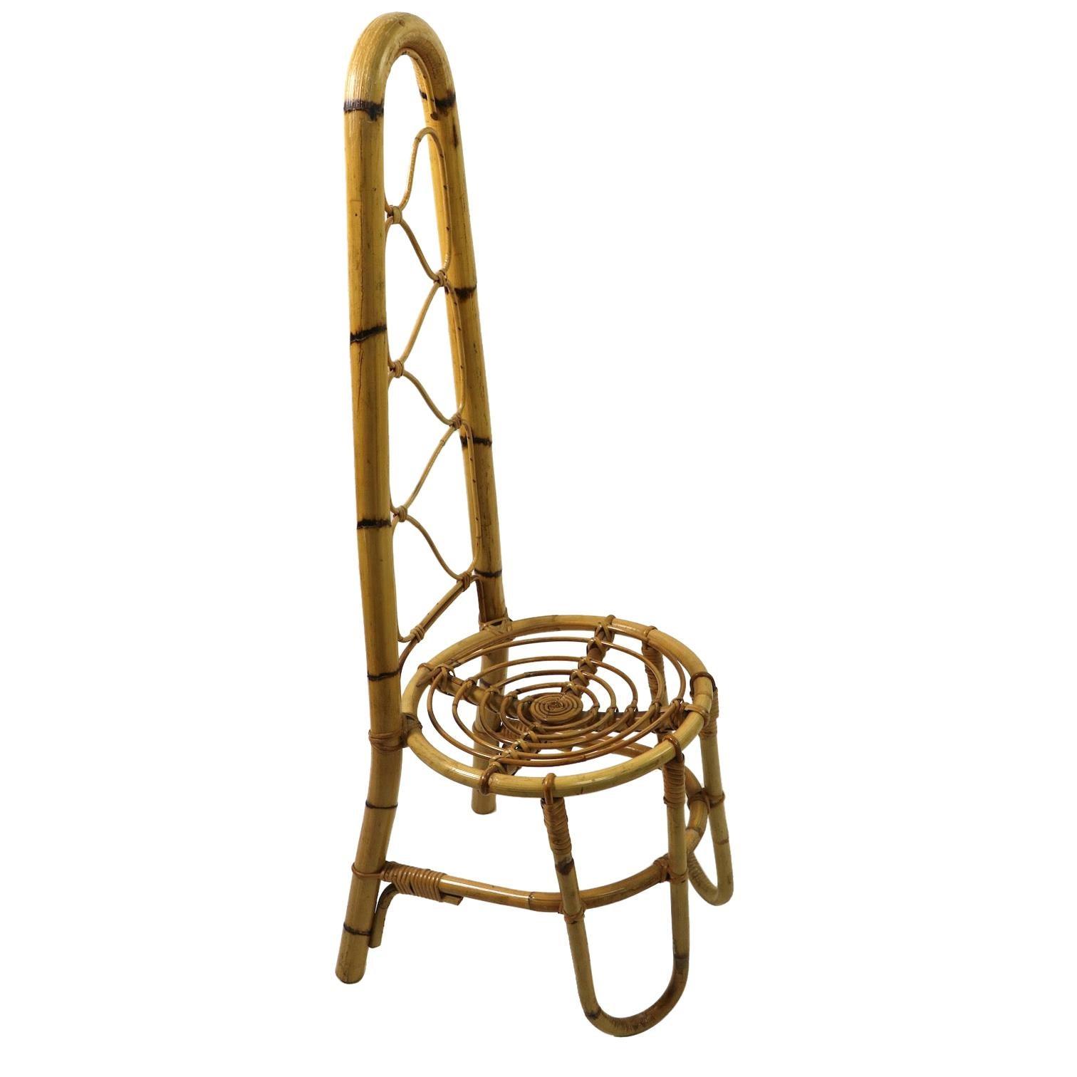 High Back Bamboo Chair Attributed to Dirk Van Sliedregt Rohde Noordwolde