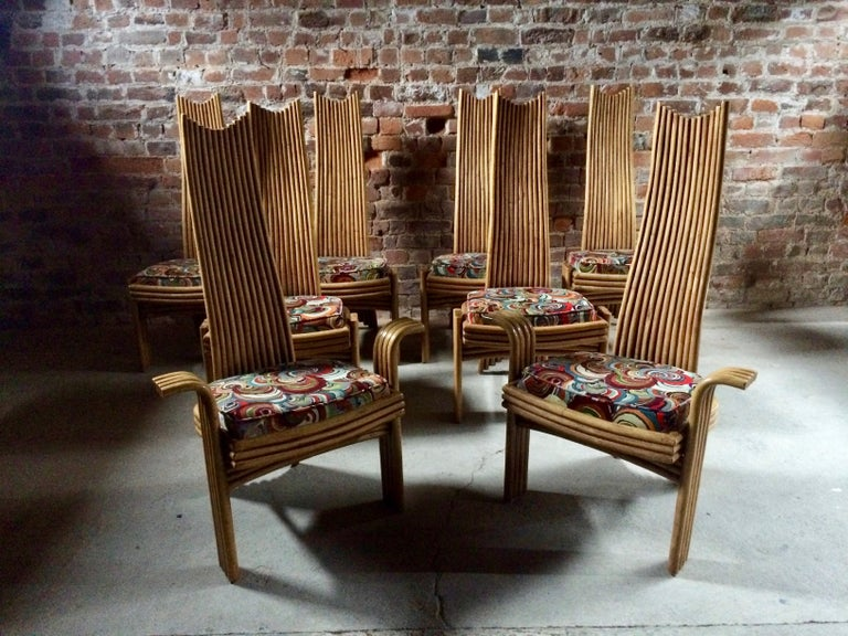 Missoni Dining Chairs High Back Bamboo Set of Eight Stunning For Sale 3